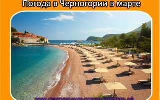 Температура воды в черногории в марте